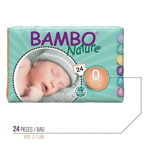 Bambo Nature Premie Baby Diapers - 144 pieces in case